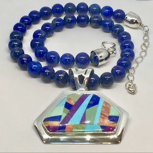Jay King Sterling Silver Lapis & Inlay Pendant
